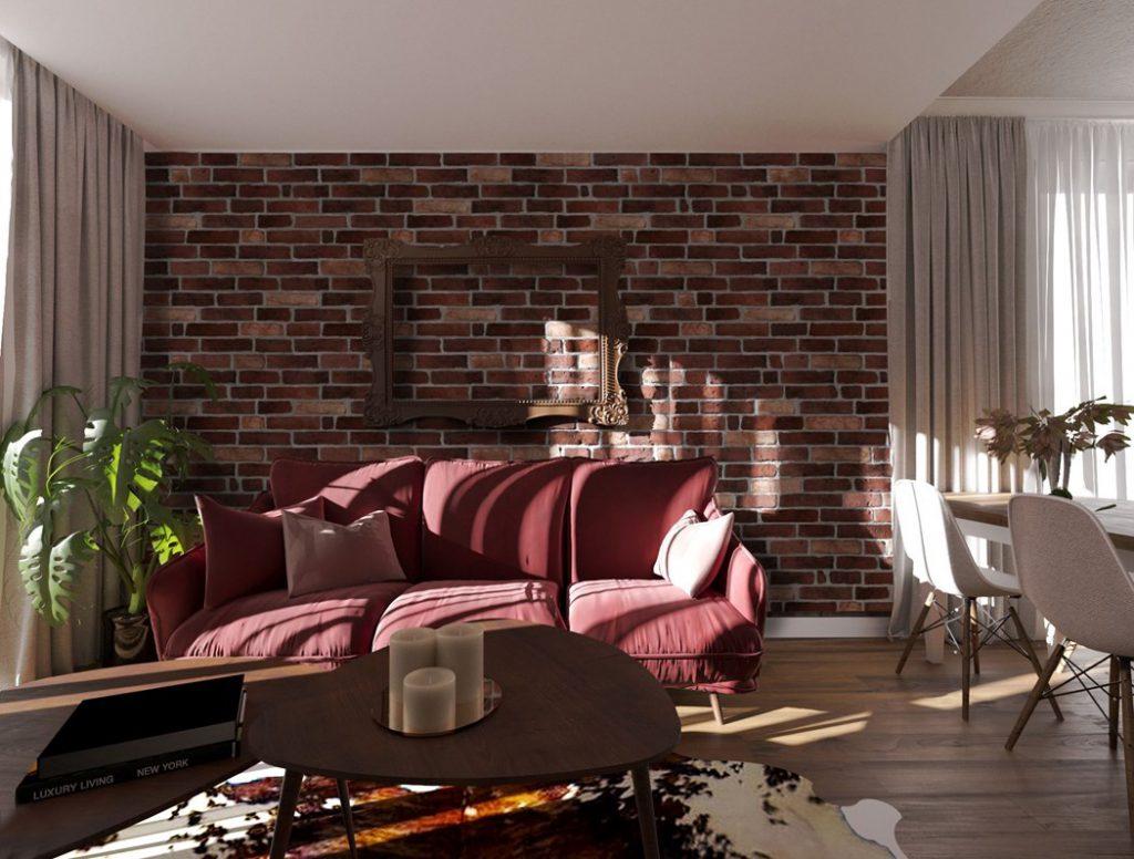 Mur De Rangement Salon brique au mur - rouge, blanche ou grise ? faites
